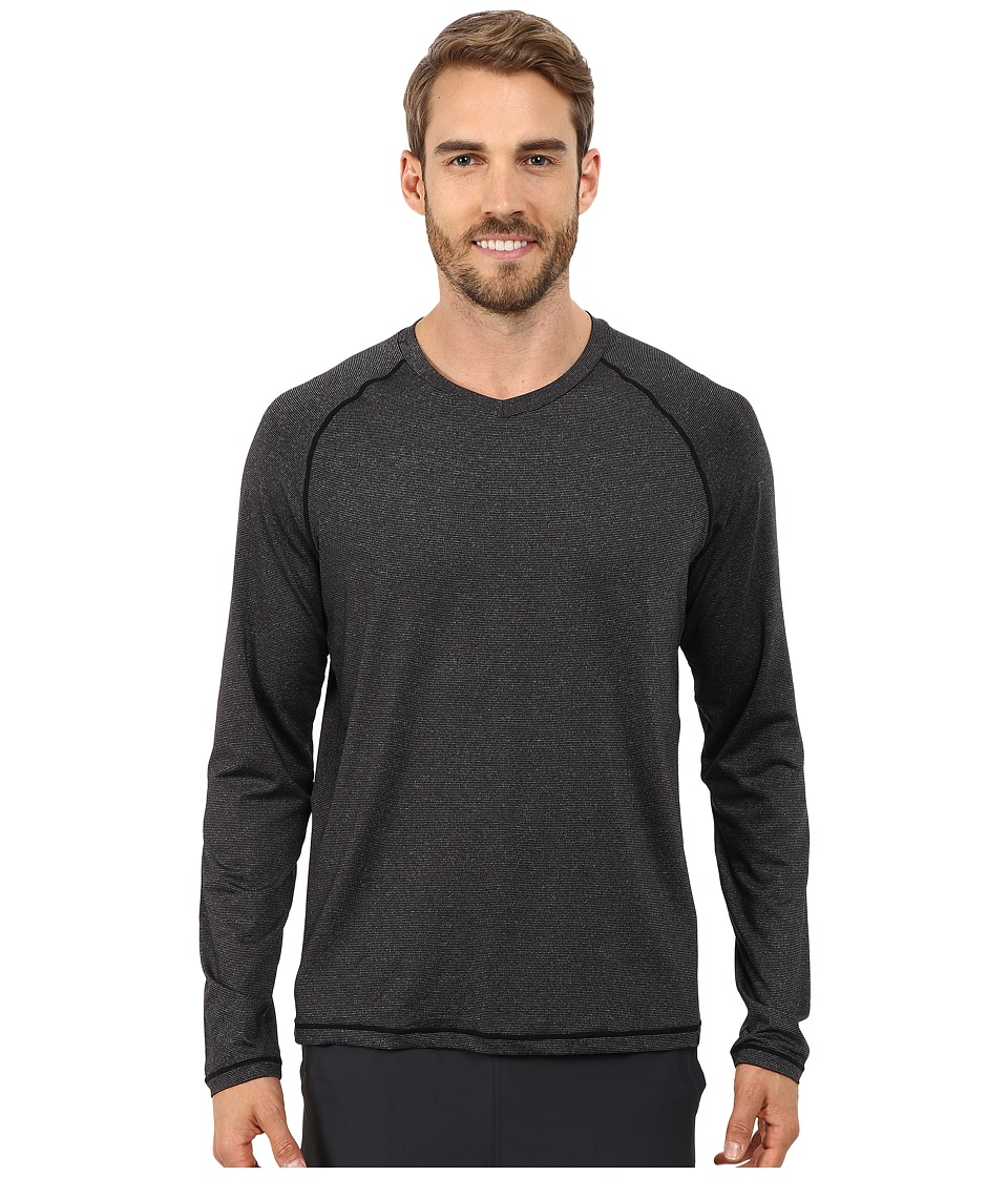 Prana - Breaker Long Sleeve V-Neck Top (Black) Men's Long Sleeve Pullover