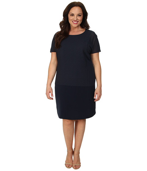DKNYC - Plus Size Pebble Texture Chiffon Pieced Shift Dress (Nightfall) Women's Dress