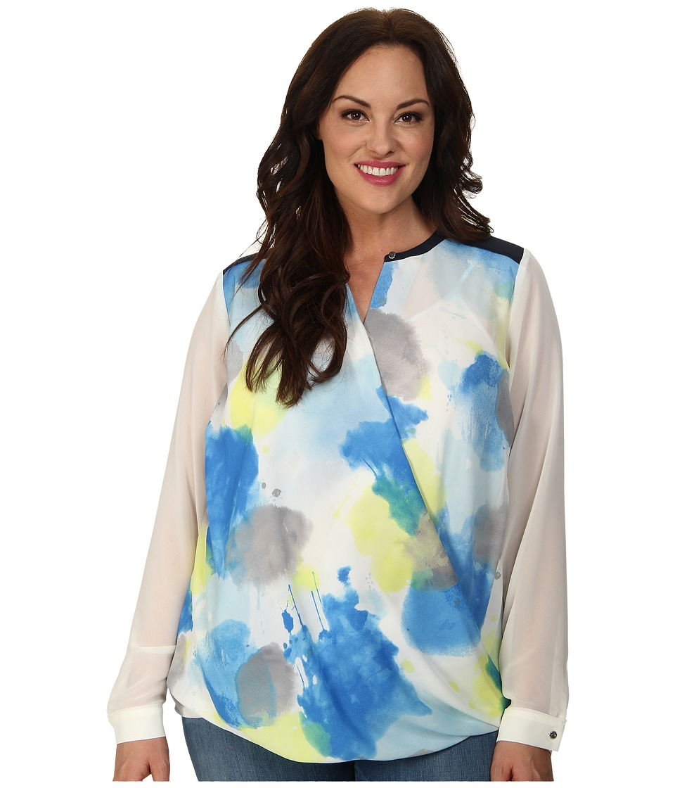 DKNYC - Plus Size Drape Front Color Block Blouse (Vibrant Blue) Women's Blouse