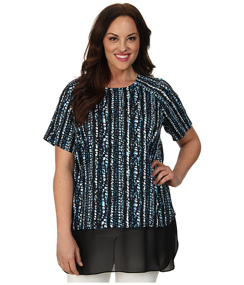 DKNYC - Plus Size Chiffon Double Layer Blouse (Black) Women
