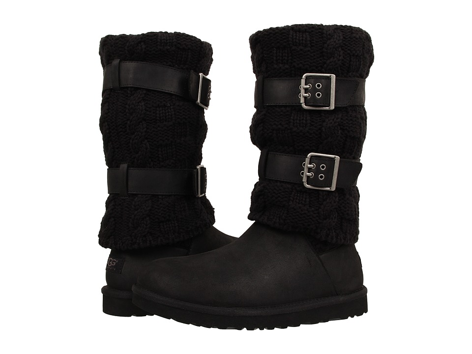 UGG - Cassidee Tall (Black Leather/Knit) Women's Boots