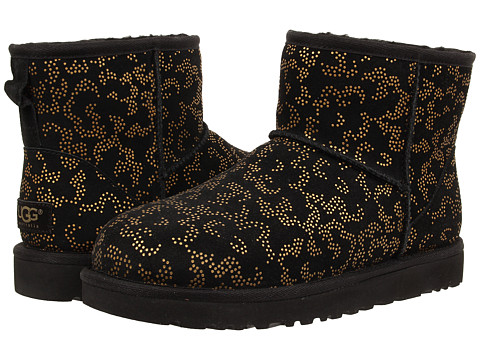 UGG - Classic Mini Metallic Conifer (Black Suede) Women