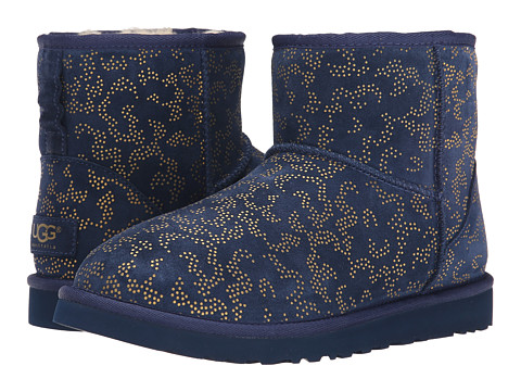 UGG - Classic Mini Metallic Conifer (Navy Suede) Women