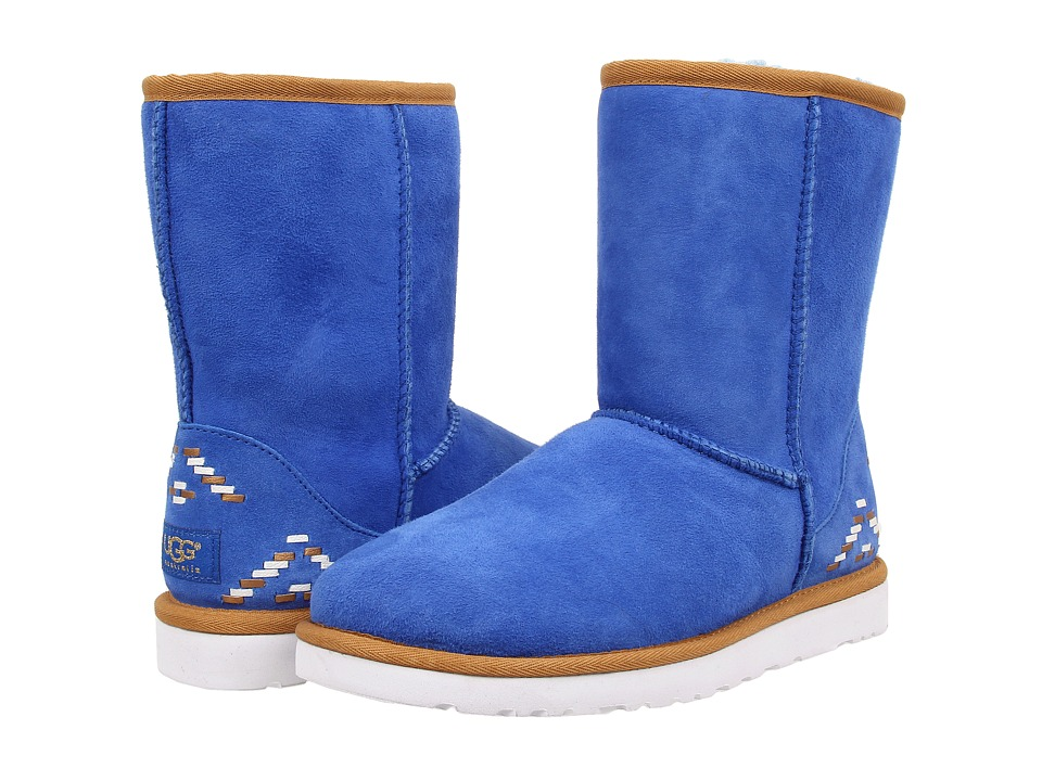 UGG - Classic Short Rustic Weave (Fiesta Blue/Twinface) Women's Boots