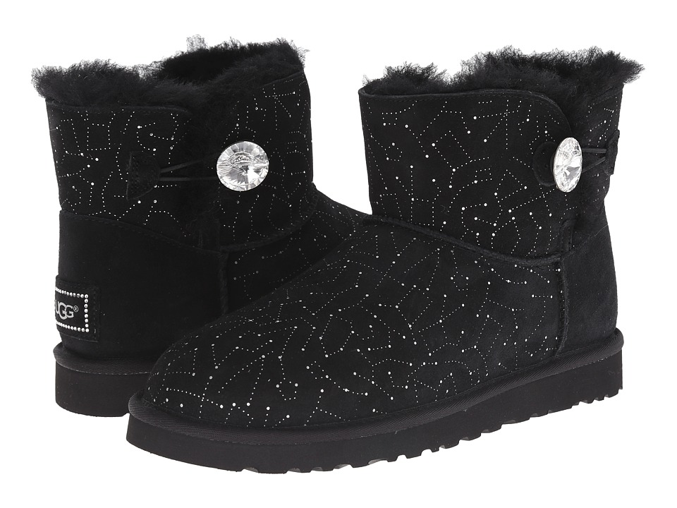 UGG - Mini Bailey Button Bling Constellation (Black Suede) Women's Boots