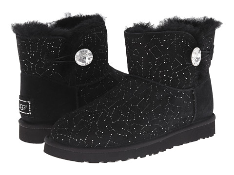 UGG - Mini Bailey Button Bling Constellation (Black Suede) Women