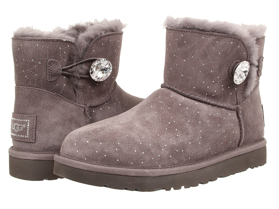 UGG - Mini Bailey Button Bling Constellation (Grey Suede) Women