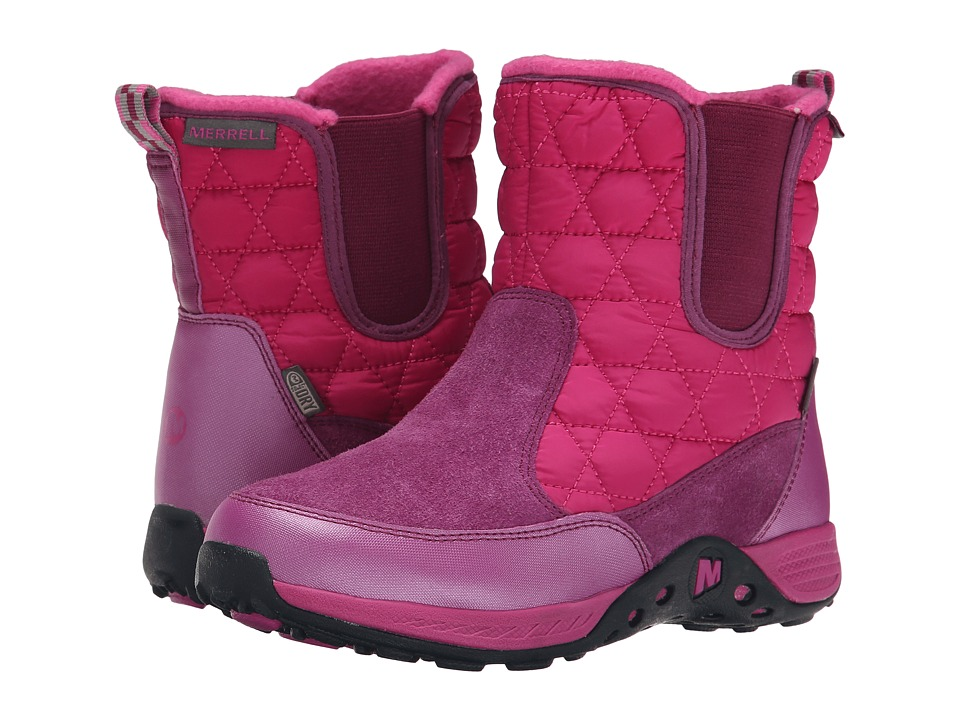 Merrell Kids Jungle Moc Quilted Boot Waterproof (Big Kid) (Berry) Girls Shoes