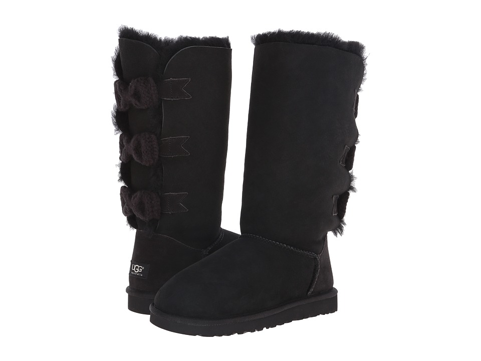UGG - Tall Bailey Knit Bow (Black/Twinface) Women