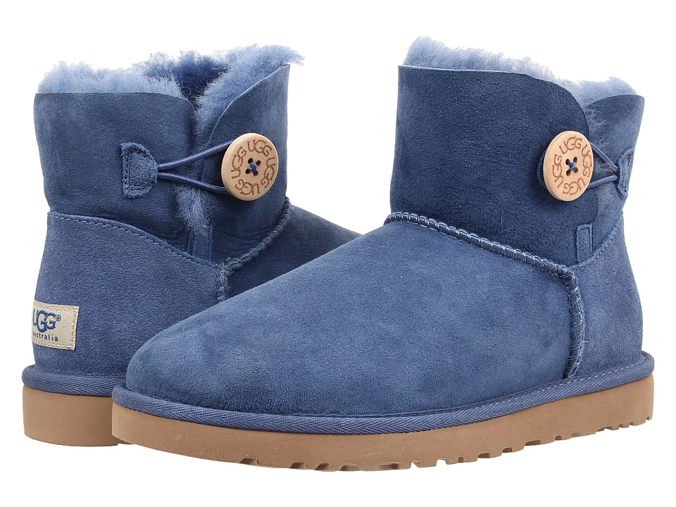 UGG - Mini Bailey Button (Blue Jay Twinface) Women's Pull-on Boots
