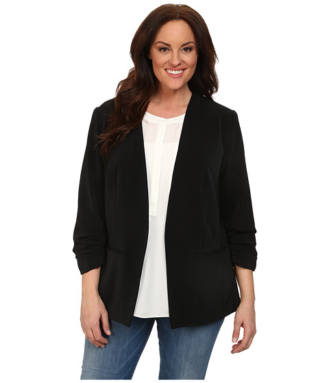 DKNYC - Plus Size Open Front Ruched Sleeve Blazer (Black) Women