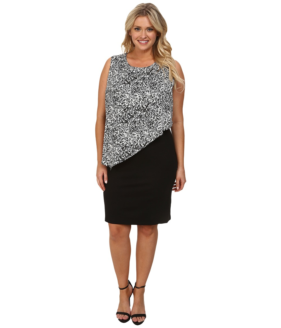 DKNYC - Plus Size Lightweight Ponte Dress w/ Painted Animal Print Overlay (Ivory) Women's Dress