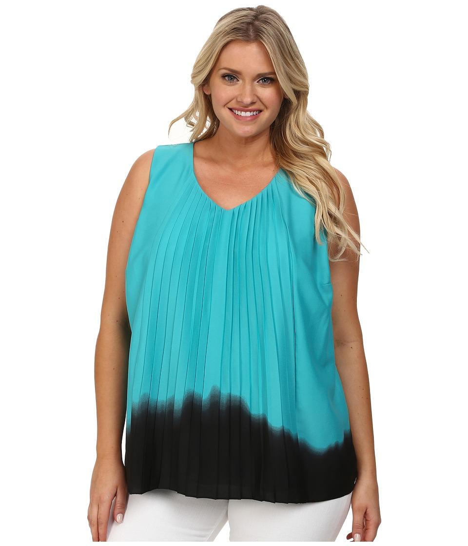 DKNYC - Plus Size Vertical Pleat Front Blouse (Blue Bird) Women's Blouse