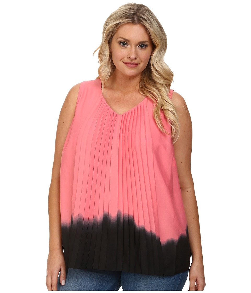 DKNYC - Plus Size Vertical Pleat Front Blouse (Sorbet) Women