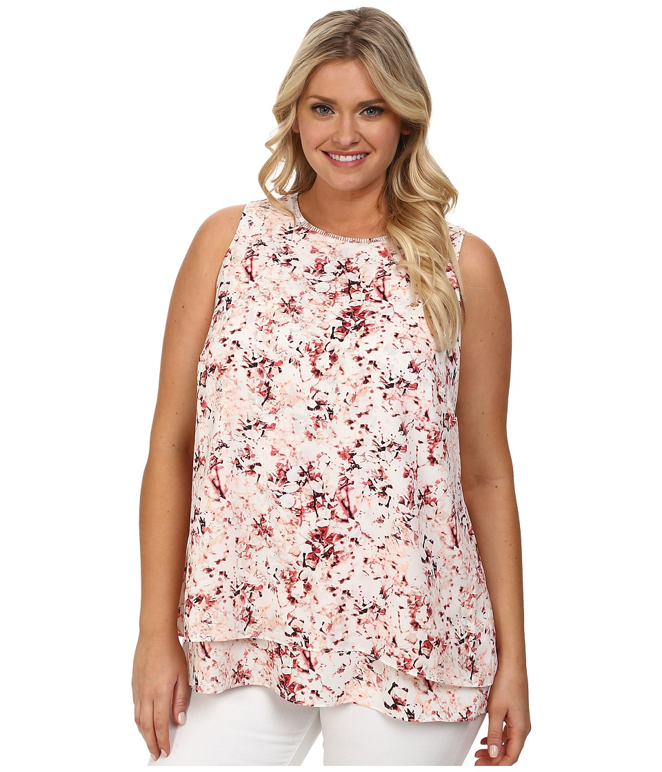 DKNYC - Plus Size Embellished Double Layer Tank Top (Overcast) Women's Sleeveless