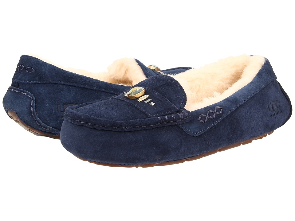 UGG - Ansley Chunky Crystals (Navy Suede) Women's Slip on Shoes