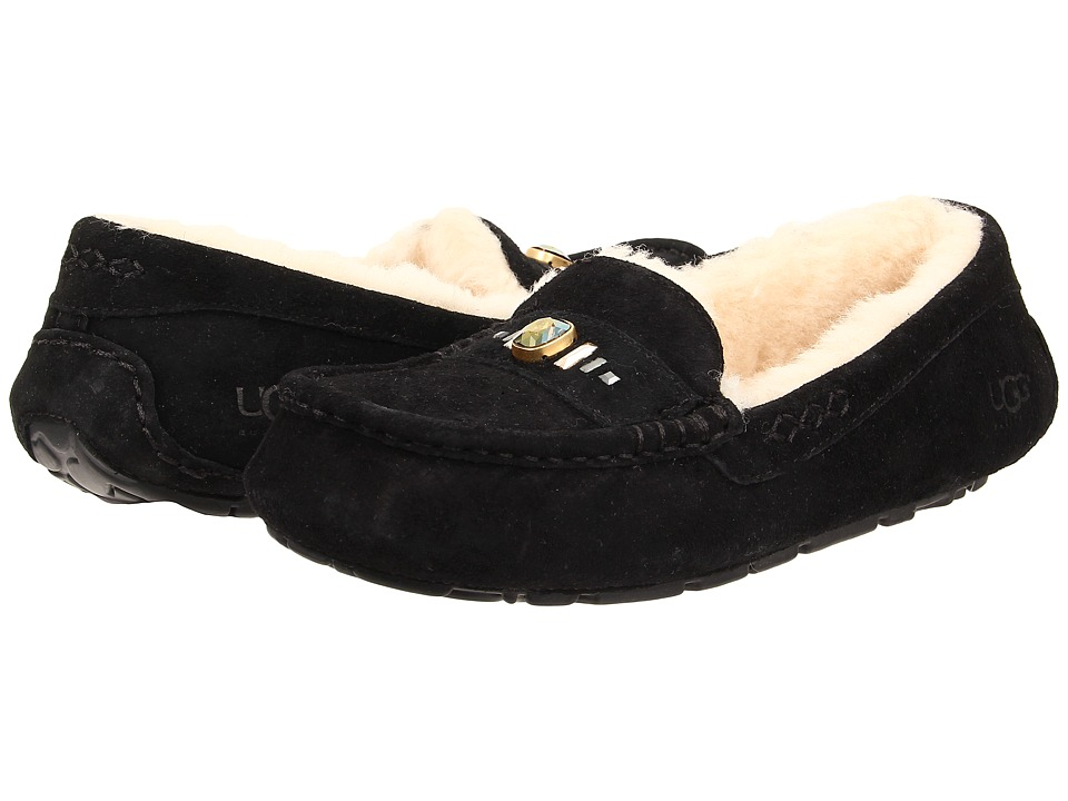 UGG - Ansley Chunky Crystals (Black Suede) Women's Slip on Shoes