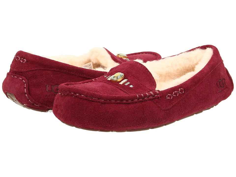 UGG - Ansley Chunky Crystals (Burgundy Suede) Women's Slip on Shoes