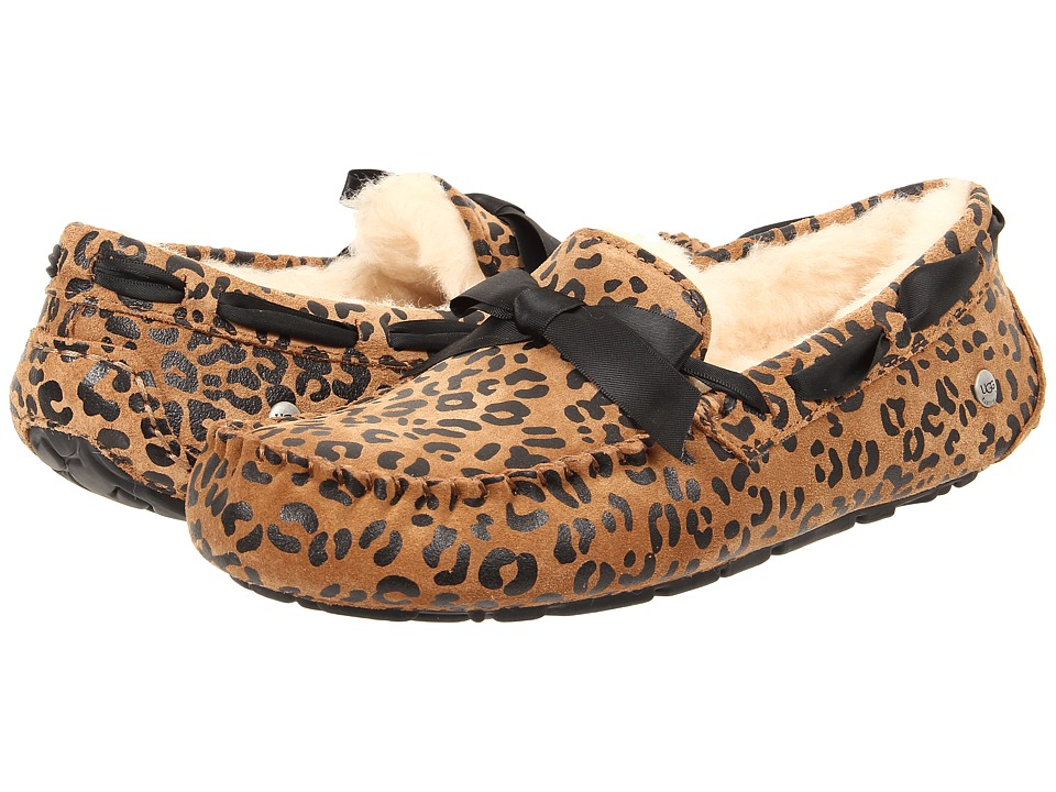 UGG - Dakota Leopard Bow (Chocolate Satin) Women's Slip on Shoes
