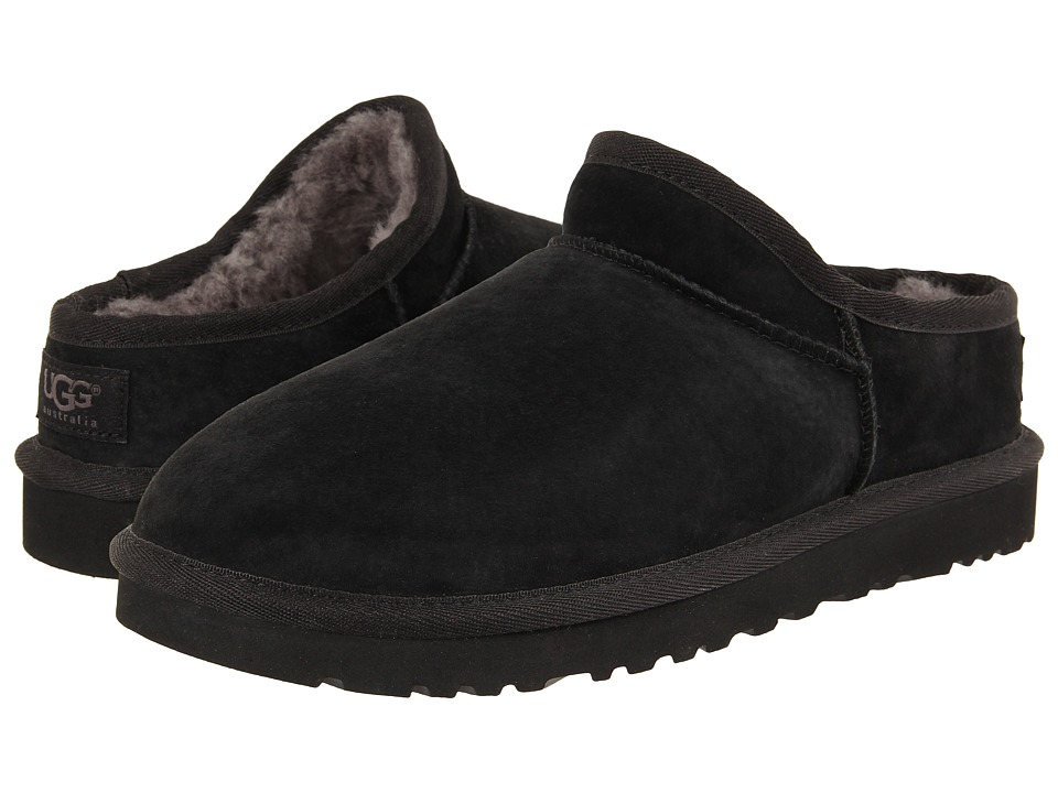 UGG - Classic Slipper (Black Suede) Women's Slip on Shoes