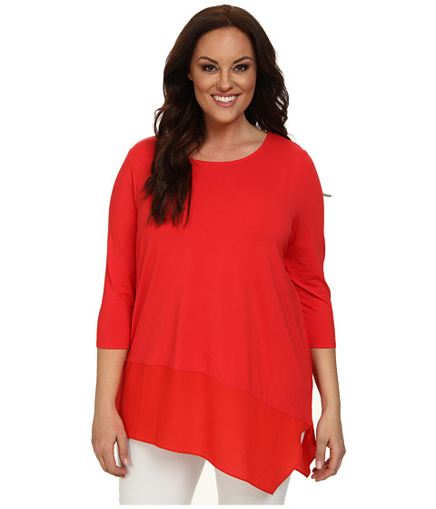 Vince Camuto Plus - Plus Size 3/4 Sleeve Top w/ Asymmetrical Heavy Georgette Hem (Tulip Red) Women