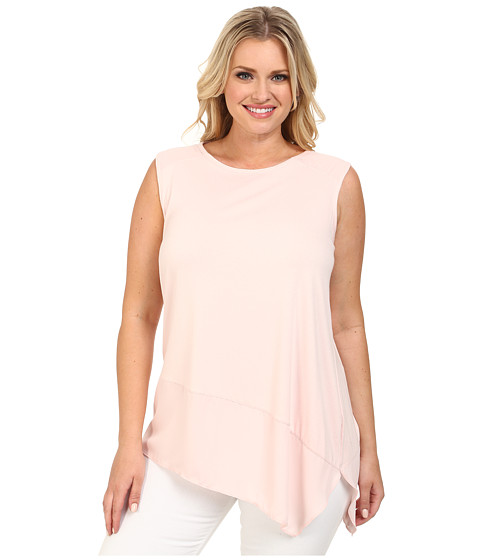 Vince Camuto Plus - Plus Size Sleeveless Top w/ Asymmetrical Heavy Georgette Hem (Taffy Pink) Women