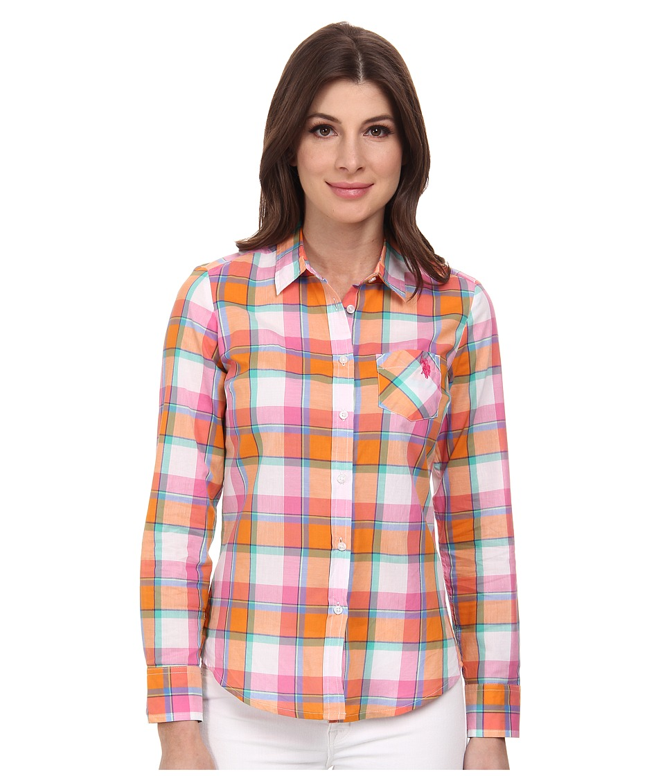 U.S. POLO ASSN. - Long Sleeve Plaid Shirt (Orange Popsicle) Women's Long Sleeve Button Up