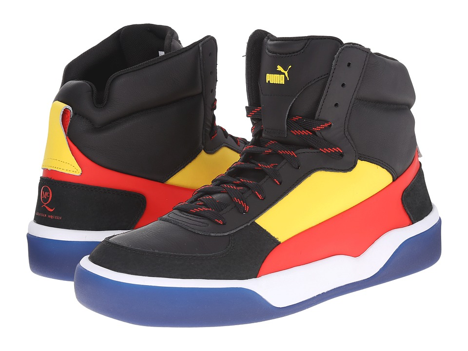 PUMA Sport Fashion - MCQ Brace Mid (Black/Vibrant Yellow/Flame Scarlet) Men's Shoes