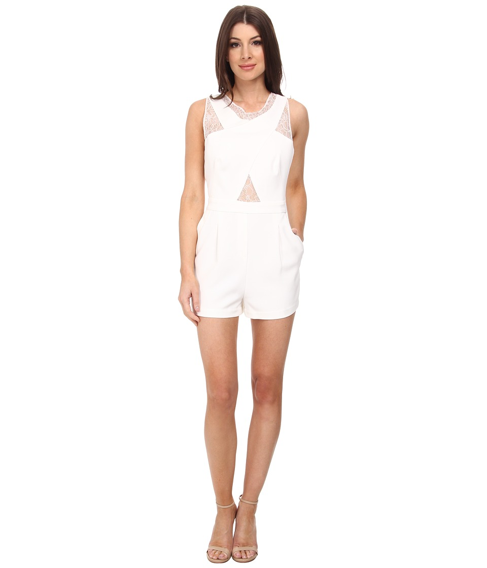 BCBGMAXAZRIA - Linn Crossover Lace Rompers (Off White) Women