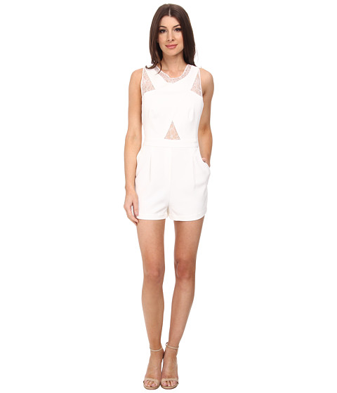 BCBGMAXAZRIA - Linn Crossover Lace Rompers (Off White) Women's Jumpsuit & Rompers One Piece