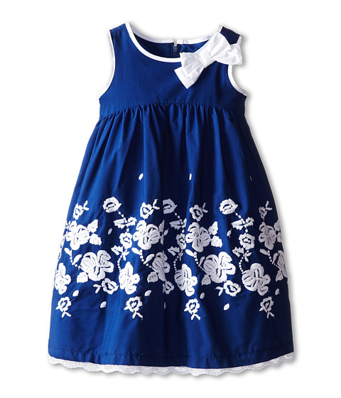 Us Angels - Sleeveless Cotton Dress w/ Embroidery (Little Kids) (Navy) Girl's Dress
