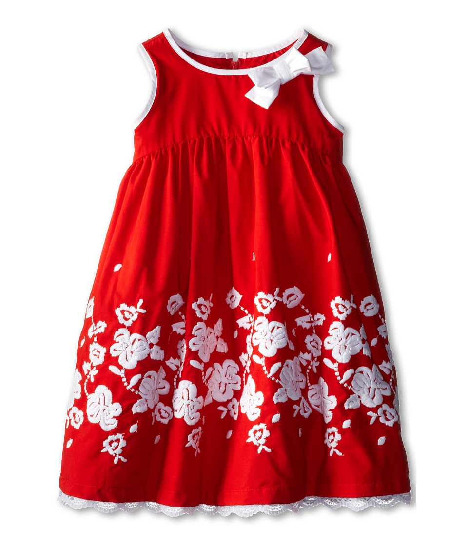 Us Angels - Sleeveless Cotton Dress w/ Embroidery (Little Kids) (Red) Girl