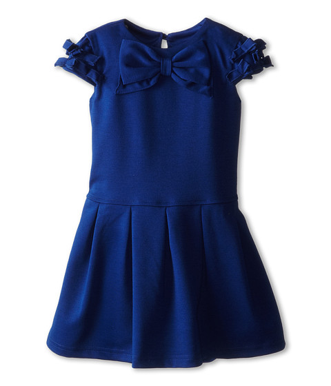 Us Angels - Cap Sleeve Bow Front w/ Drop Waist (Toddler) (Navy) Girl's Dress
