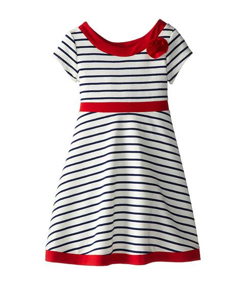 Us Angels - Double Knit Ottoman Stripe Dress (Little Kids) (Navy) Girl