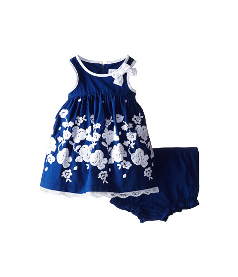 Us Angels - Sleeveless Empire w/ Embroidery Skirt (Infant) (Navy) Girl