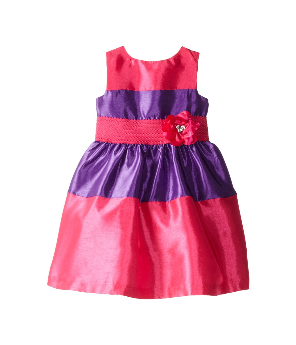 Us Angels - Sleeveless Elastic Waist Color Block (Toddler) (Fuchsia) Girl's Dress