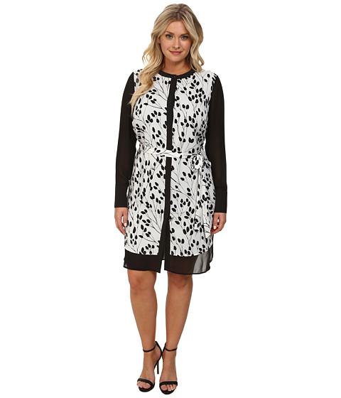 DKNYC - Plus Size Chiffon Pieced Shirt Dress (Ivory) Women's Dress