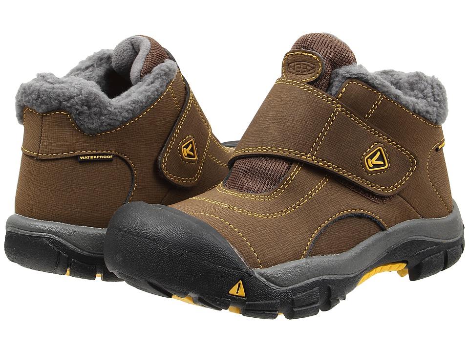 Keen Kids Kootenay WP (Little Kid/Big Kid) (Dark Earth/Spectra Yellow) Kids Shoes
