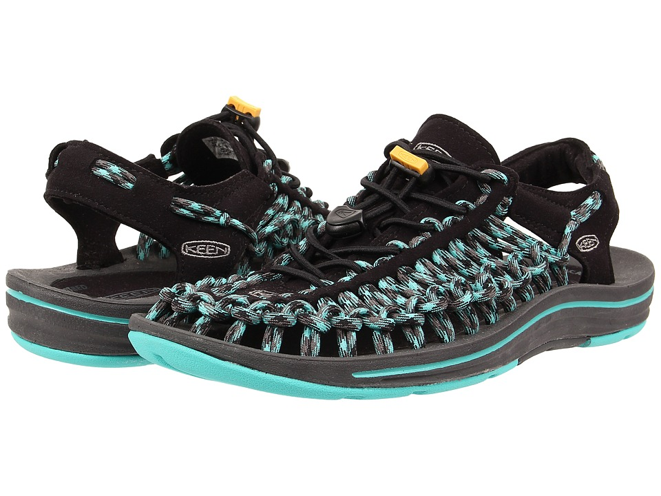 Keen - Uneek (Black/Lagoon) Women's Toe Open Shoes
