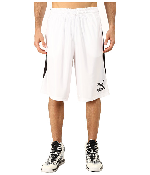 PUMA - 12 Hoops Shorts (White/Black) Men's Shorts