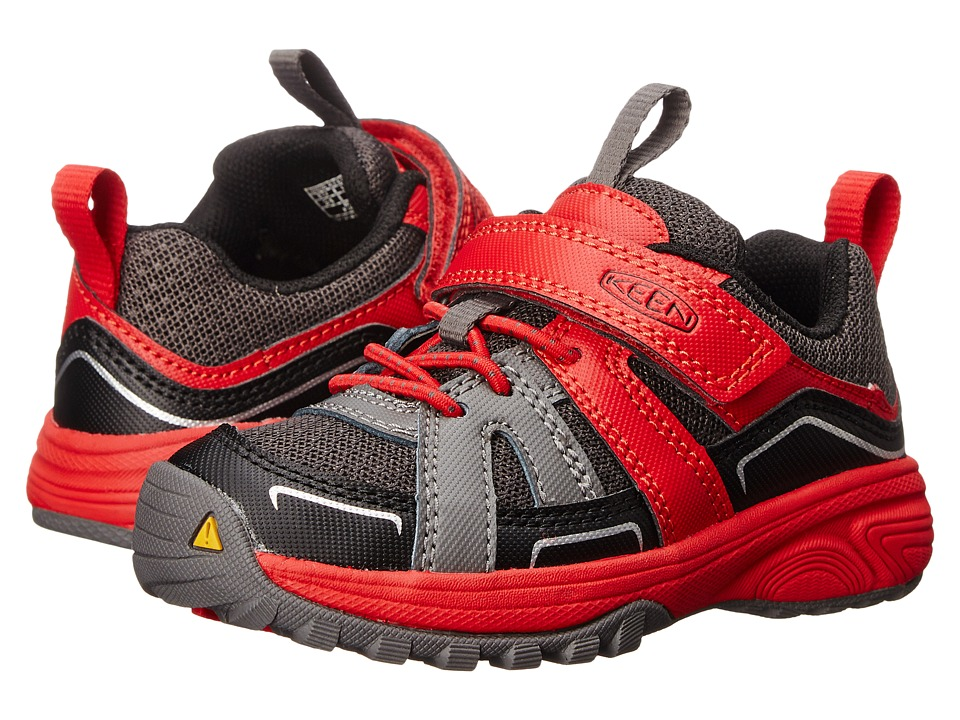 Keen Kids - Lookout (Toddler/Little Kid) (Gargoyle/Racing Red) Boys Shoes