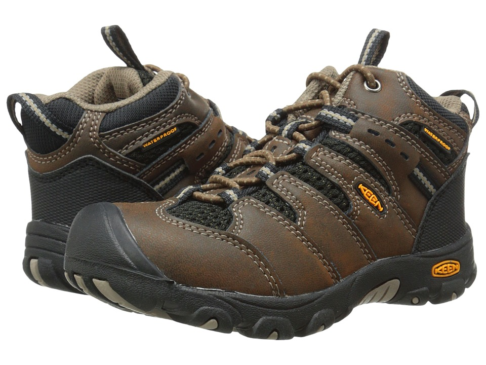 Keen Kids - Koven Mid WP (Toddler/Little Kid) (Cascade Brown/Black) Boys Shoes