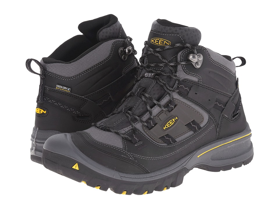Keen - Logan Mid WP (Black/Spectra Yellow) Men's Hiking Boots