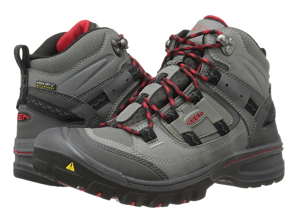 Keen - Logan Mid WP (Neutral Gray/Racing Red) Men