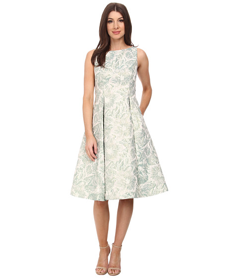 Adrianna Papell - Sleeveless Floral Metallic Jacquard Party Dress (Aqua) Women