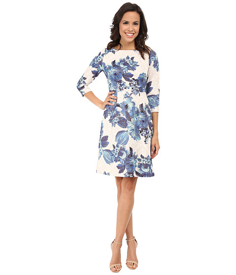Adrianna Papell - 3/4 Sleeve Matlasse A-Line Dress (Blue Multi) Women's Dress
