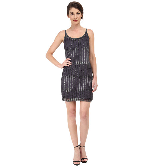 Adrianna Papell - Sleeveless Beaded Cocktail Dress (Gunmetal) Women