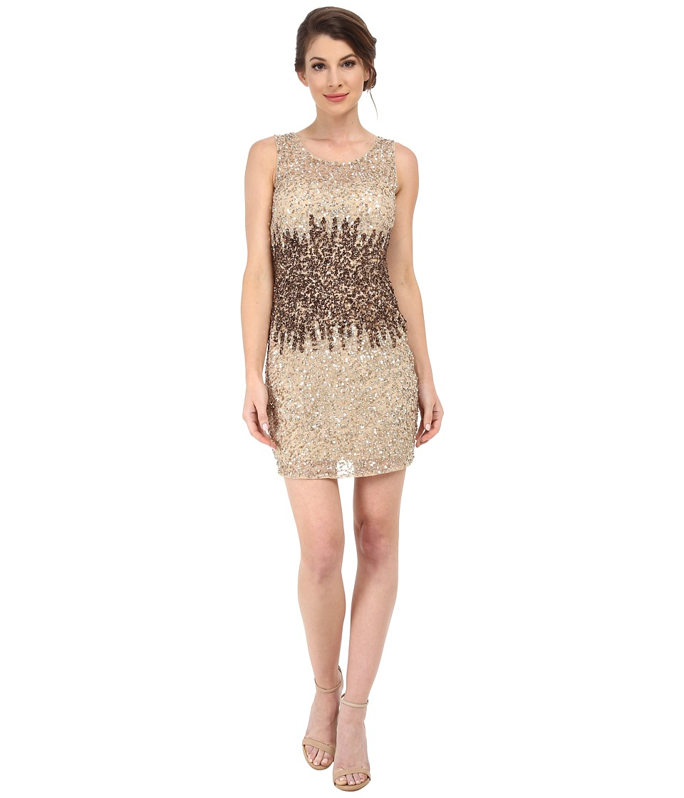 Adrianna Papell - Short Beaded Dress (Champagne) Women