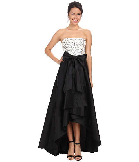Adrianna Papell - Strapless Floral Embroidered Taffeta Gown (Black Ivory) Women