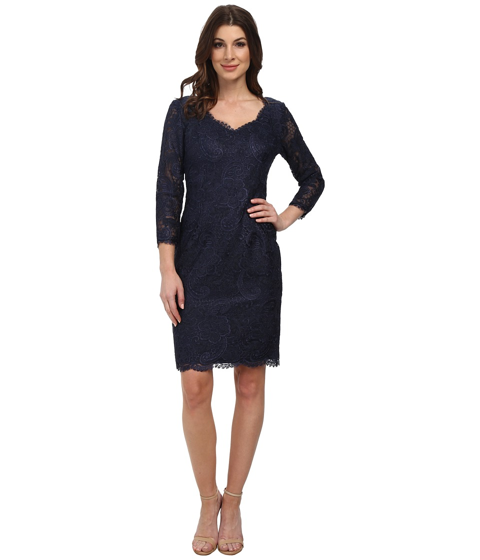 Adrianna Papell - Corded Lace Sheath w/ 3/4 Sleeve (Navy) Women's Dress